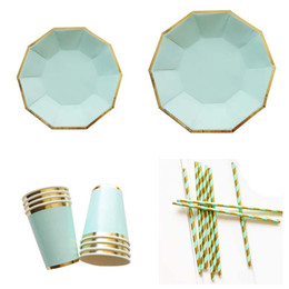 Tazze di carta diy online-disposable Paper Plates cups napkins Tableware for Birthday Wedding Party Decoration craft DIY favor baby shower Golden mint shimmering