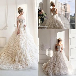 Malyarovaolga Luxury Sparkly Corset Princess Wedding Dresses 2018 Dubai Arabic Off Shoulder Tiered Cathedral Train Church Gowns