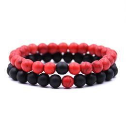Braccialetti caldi di distanza di vendita per gli amanti 2pcs / set gioielli di pietra naturale dei gioielli di San Valentino delle coppie di pietra da