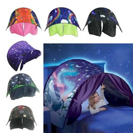 Wholesale Kids Dream Light - Kid Baby Dream Tent Fantasy Foldable Unicorn Moon White Clouds Cosmic Space Snow Tent Fancy Sleeping Prop Without Night Light 2110193