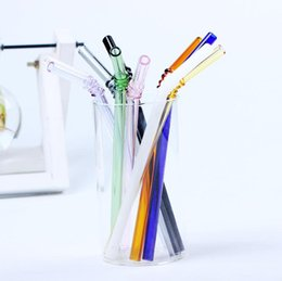 Wholesale finest arts - Special Fine Curved Glass Pipet Environmental Glass Health Baby Drinking Art Straws Pipette Drinking Straws Eco-friendly SN1153