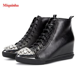 Wholesale Silver Crystal Wedge Shoes - Silver Cap-Toe Crystal Lace Up Height Increasing Platform Trainers High Top Black Soft Leather Wedges Women Casual Shoes Woman