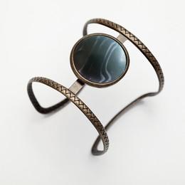 2019 bracelet style rue Nouveau Européen et Américain Rue Snap Rétro Style Bracelet Bracelet Bleu Clair Ouvert Large Top Qualité Résine Bangle Bijoux Factory bracelet style rue pas cher