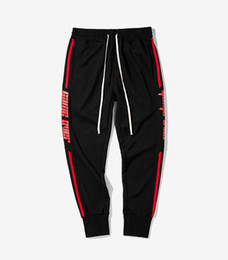 Wholesale Red Foot Pedal - INF |2017 men's fall fashion retro sports pants color stripe elastic pants feet pedal men's letters