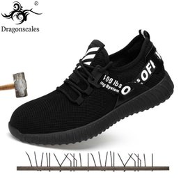 footwear construction Promo Codes - Dragonscales Summer Breathable Men Safety Shoes Steel Toe Work Anti-smashing Boots Mens Protective Construction Footwear Sneaker