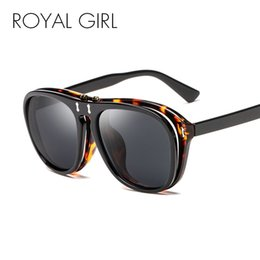 Wholesale Purple Steampunk - ROYL GIRL Vintage Steampunk Flip Up Sunglasses Women Men Oval Double Layer Clamshell Frame Sun Glasses Male Googles Oculos ss040