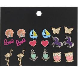 Soporte de mariposa online-Multi Styles Animales Flores Tema Pendientes Set Owl Butterfly Stud Pendiente para Mujeres Niñas Apoyo hipoalergénico FBA Drop Shipping H323R