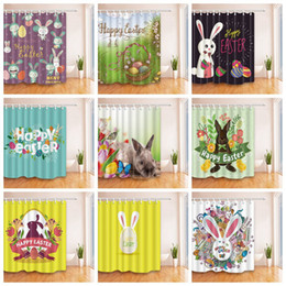 Wholesale Print Curtains - Easter Bunny Rabbit Shower Curtain 180*180cm 3D Easter Egg Printed Waterproof Polyester Shower Curtain for Bathroom OOA4152