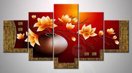 Vasos de pinturas a óleo on-line-5 Peça Moderna Flor Vaso de Arte Da Lona Pintura A Óleo Imagem Modular HD Impressão Fotos Da Parede Para Sala de estar Decoração Pinturas