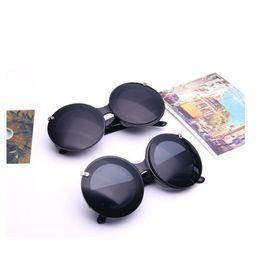 Wholesale circle protection - Black Frame Circle Flip Sun Glasses UV400 Protection Plain Glass Spectacles For Men And Women Sunglasses Portable 7qa B
