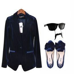 Chaqueta de traje de chaqueta de traje de mujer de nueva moda Casual Chaqueta  de botón de una sola mujer de color azul y vino traje de terciopelo rojo ... 9825c81269fa