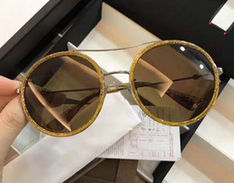 Wholesale glitter glasses frames - Luxury Womens 0061S Round Sunglasses 0061 Yellow Glitter Frame  Brown Gradient Lens 56mm Fashion Sunglasses Super Quality new