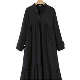 vestito nero dalla signora grassa Sconti Lady nero puro di grandi dimensioni XL-4XL allentato abito lungo donne grasse stare colletto pulsante manica lunga asimmetrica abito lungo