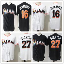 Wholesale Giant Xxl - Miami 16 Jose Fernandez 27 Giancarlo Stanton Marlins Black Throwback Baseball Jersey Stitched Giants For Mens