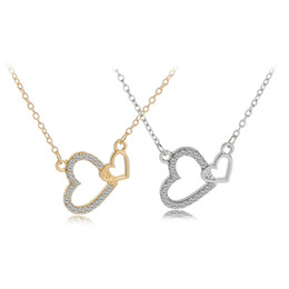 Wholesale Eternal Love Necklace - Double Heart Silver Pendant Necklace Eternal A Lifetime Loving You Interlocking Heart Necklace for Womens