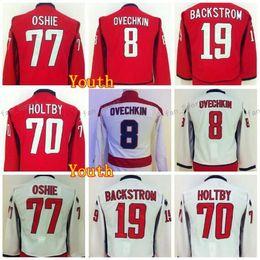 Camisetas del equipo de hockey juvenil online-Camiseta Youth T J Oshie Jersey 77 Hockey 8 Alex Ovechkin Jerseys Niños 19 Nicklas Backstrom 70 Braden Holtby Team Color Red Road Visitante Blanco