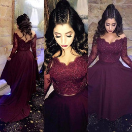 Wholesale Two Piece Purple Prom Dress - 2018 Off The Shoulder Two Pieces Long Sleeves Lace High Low Prom Dresses Beaded Satin A Line Formal Party Evening Dresses In Burgundy