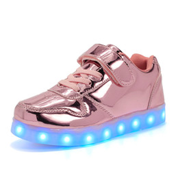 Wholesale Party Dots Led Lights - High quality LED Shoes Kids light Up Flashing Sneakers Shoes Night Dancer with USB Charge Unisex Fluorescent Couple Party Sport Casual