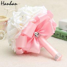 Wholesale Diamante Wedding Bouquets - New Bridal Bouquet Rose Foam Crystal Diamante Wedding Handmade Bridesmaid Flower
