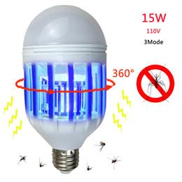 Luci led e27 w online-1 Pz 220 V 110 V 15 W 2 In 1 LED Zanzara Insetto Fly Killer Lampada Lampadina Repellente LED Night Light 5730 SMD 3 Modalità