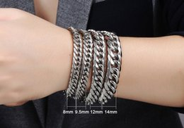 Wholesale Bicycle Chain Links - Punk Style 316L Stainless Steel Mens Bracelet Classical fashion Biker Bicycle Heavy Metal 14MM Link Chain Jewelry Bracelets For Men's