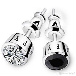 Wholesale Number Black Diamond - Copper plated earrings men single Japanese and Korean personalized diamond simple tide male earrings fashion earrings