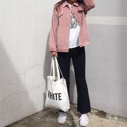 2019 chaqueta de mezclilla de la universidad Solid Women Short Design College Wind Loose Causal Pana sólida Manga larga Mujer Denim Chaquetas básicas Abrigos Abrigo chaqueta de mezclilla de la universidad baratos