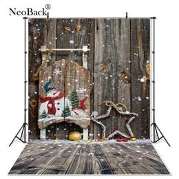 Backdrops do feriado on-line-NewBack Full Size Vinil Pano De Madeira De Neve Festa de Natal Fundo fotográfico do feriado Do Vintage Foto cenários personalizados B1085