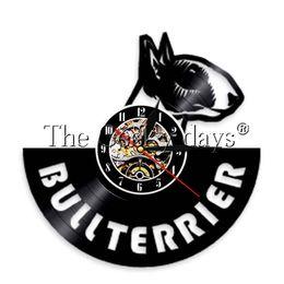 horloges pour animaux de compagnie Promotion 1 Pièce Anglais Bullterrier Disque Vinyle Horloge Murale Chien Spirale Horloge Murale Chiot Doggie Pet Montre Bull Terrier Amoureux Cadeau