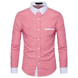 Homens camisa de escritório on-line-Smart Casual Camisa Dos Homens Listrado Roupas de Escritório Tops Novidade Masculino Blusa de Trabalho Do Punk Rock Bonito Camisas Do Partido Streetwear Camisa