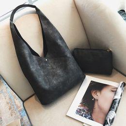 Wholesale Korean Style Lady Hobo Handbags - Korean Style Simple Women Handbag Portable Large Shopping Bag sets 2 Pcs Composite Pu leather Ladies Shoulder Hobos Bags Sacs