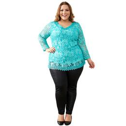 Elegante t-shirts online-Frauen Plus Size Große Yards Tops Femme Elegante Blumenspitze Frühling Herbst T-Shirt Elastische Baumwolle T-shirts 6xl 7xl 8xl weiblich
