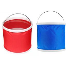 Contenedores de agua de senderismo online-9 / 12L Handy Water Bag Plegable Plegable Cubo Contenedor de agua para la pesca al aire libre Lavado de coches Camping Senderismo Pesca Picnic