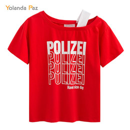 Wholesale Sexy Police Women - Yolanda Paz 2018 new tops POLICE Letter Print t shirt Women Sexy tees Fashion Clothing Summer tshirt Funny Cotton Casual Tshirts