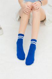 Calcetines a rayas de tobillo online-5 pares de calcetines de algodón a rayas clásicas para mujer, calcetines de tobillo de corte bajo, deportivos, casuales, calcetines cortos Harajuku lindos para mujeres, hombres al por mayor
