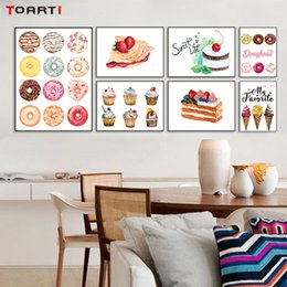 Wholesale Kitchen Wall Paint Decor - Colorful Delicious Ice Cream Cakes Canvas Painting Posters And Prints Wall Pictures For Living Room Kitchen Wall Art Home Decor