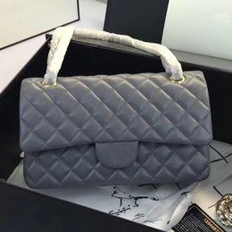 Wholesale white gold diamond cross - Original quality 25.5CM Lambskin Caviar Leather Flap Bag Classic Designer Cross Body 15 Choice Gold and Sliver Chain Designer Shoulder Bag