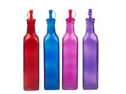 Canada Quatre couleurs 500ML main verre huile de vinaigre sauce bouteille distributeur cuisine herbe et épice avec des couvercles en plastique Offre