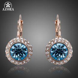 Wholesale Earring Leverback - whole saleAZORA Rose Gold Color Stellux Austrian Blue Crystals Leverback Earrings TE0075