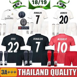 2be422cf6 18 19 Real Madrid kids kit Soccer Jersey 2018 2019 youth Child BALE Modric  KROOS ISCO ASENSIO BALE Football Jersey shirt uniform + socks