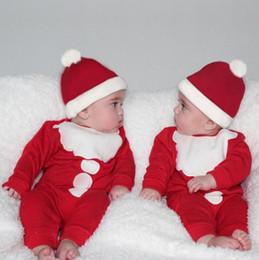 Roupas de papai noel para bebé on-line-Baby Boy Menina Romper + Chapéus de Algodão 2 pcs Newborn Long Sleeve Romper New Years Macacão Natal Santa Traje Roupas de Bebê