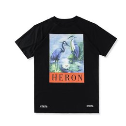 Wholesale Women Oversize T Shirt - 18SS summer high-quality fashion tee HERON PRESTON oversize 3D crane print pattern loose men and women short-sleeved T-shirt free ship