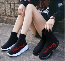 Black Sock Booties Calzado deportivo, zapatillas de entrenamiento, Speed Knit Sock High-Top Sneakers de entrenamiento, Dropshipping aceptado A49 desde fabricantes