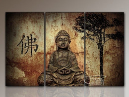 Wholesale framed oil paintings buddha - 3panels Figure of Buddha ,HD Art Oil Painting Print on Canvas Home Wall Decoration posters Framed No Stretch
