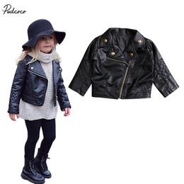Mädchen biker jacke online-Coole Neue Kinder Mädchen Mode Motorrad PU Lederjacke Biker Mantel Schwarz Jacken Kleidung