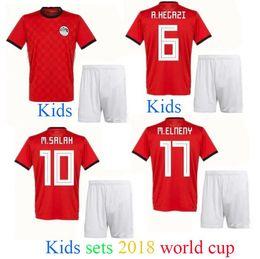 Wholesale Children Size Jerseys - Camisetas de Futbol children size 2018 Egypt kids soccer jersey SHEKABALA 18 equipe world cup Maillot mohamed salah Egyptian footabll kits