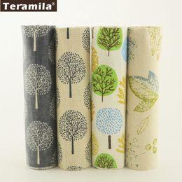 Medidor de lino online-Tela de lino de algodón Teramila 4 diseños de árboles de varios colores Bundle Meter Patchwork DIY Para Almohada Bolsa Cojín Cortina Mantel