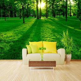 Canada Vente en gros - Grande muraille 3D vert nature soleil forêt photo papier peint peintures murales pour salon, papel de parede moderno para sala de estar Offre