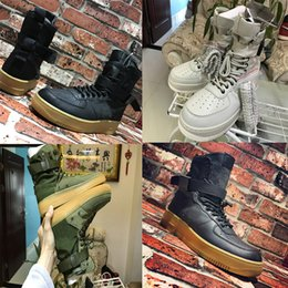 Wholesale Mens Brown Motorcycle Boots - (with box) 2018 Special Forces shoes Racers 1 One Boots Black Gum Light Brown Mens Womens Sports Athletic Trainers size 36-45