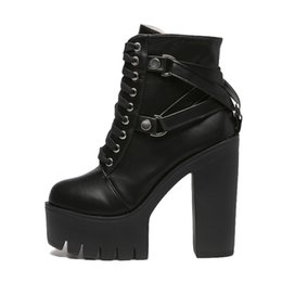 ef8de598e Moda Negro Martin Boots Mujeres Primavera Otoño cordones Zapatos de  plataforma de cuero suave Mujer Fiesta Botines Tacones altos